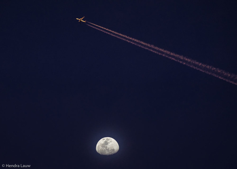 Moon and Aeroplane photography by Hendra L auw
